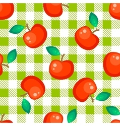 Tartan plaid and red apple seamless pattern vector