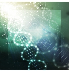 Dna molecule structure on a green background vector