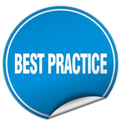 Best practice round blue sticker isolated on white vector