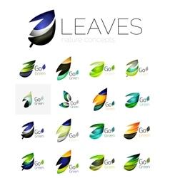 Futuristic design eco leaf logo set vector
