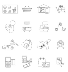 Shopping icons set thin line style vector