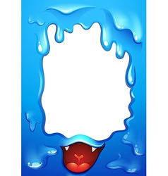 A blue border design with a tongue of a monster vector image vector image