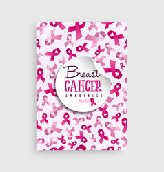 Breast cancer awareness pink ribbon poster design vector