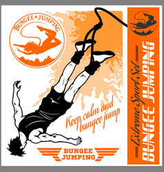bungee jumping set - badges and monochrome vector image