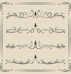 calligrpahic curled divider and decorative vector image vector image