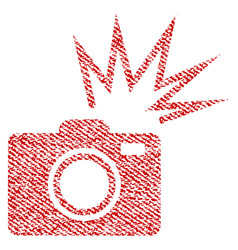 Camera flash fabric textured icon vector