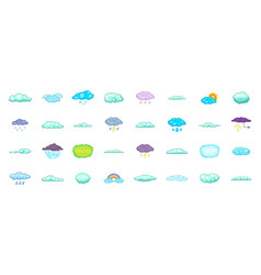 clouds icon set cartoon style vector image