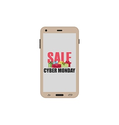 Cyber monday sale smartphone with gift boxes vector