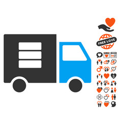 Data transfer van icon with dating bonus vector