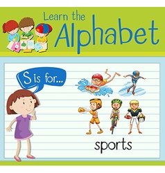Flashcard alphabet s is for sports vector