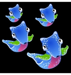 Four blue fictional fish on a black background vector