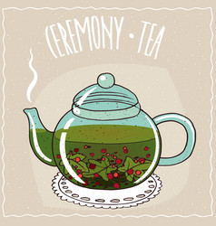 Glass teapot with tea currant vector