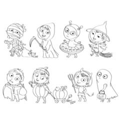 Happy halloween coloring book vector