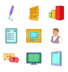 Implementer icons set cartoon style vector