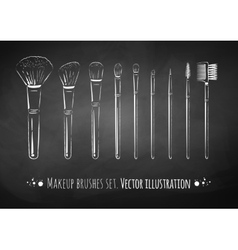 Makeup brushes kit vector image vector image