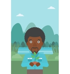 Man holding plant vector image vector image