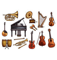 Music concert sketch instruments icons vector