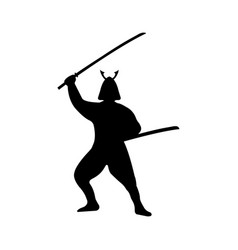 samurai warrior silhouette on white background vector image vector image
