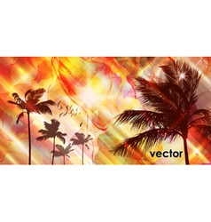 Sunset and palm tree vector image vector image