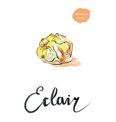 Watercolor eclair vector