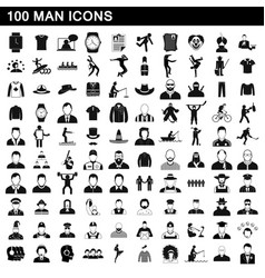 100 man icons set simple style vector image vector image