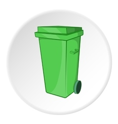 Trash can on wheels icon cartoon style vector
