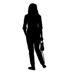 Silhouette young girl with handbag standing vector image