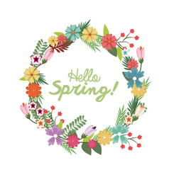 spring floral wreath poster with hand lettering vector image