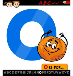 Letter o with orange cartoon vector