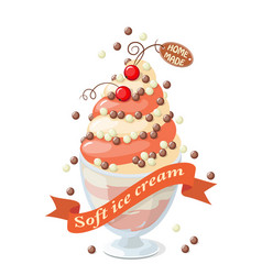 Isolated currant frozen yogurt on white vector