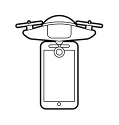 Smartphone with drone remote control app vector
