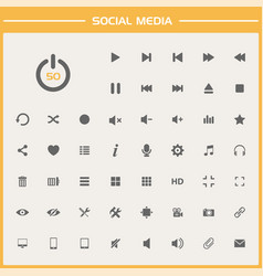 50 social media icons on simple presentation vector