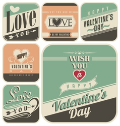 Retro labels for valentines day vector