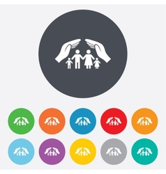 Family life insurance sign icon hands protect vector