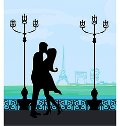 Romantic couple silhouette in paris kissing near vector