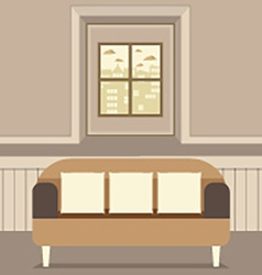 Empty brown couch in front of window vector