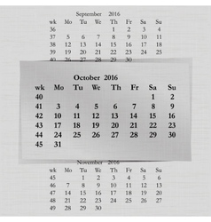 Calendar month for 2016 pages october start monday vector