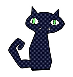 Comic cartoon black cat vector