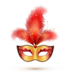 Golden carnival mask with red glitter decoration vector