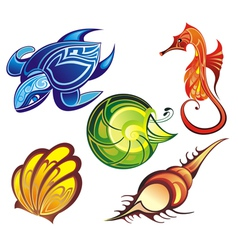 Colorful sea animal vector