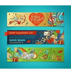 Set of horizontal romantic banners vector