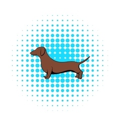 Dachshund icon in comics style vector
