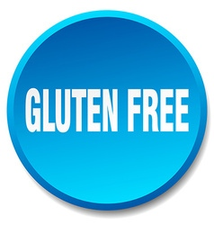 Gluten free blue round flat isolated push button vector