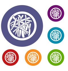 asian salad icons set vector image