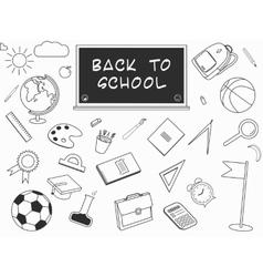 Back to school lineart set various school stuff vector