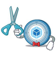 Barber webpack coin character cartoon vector