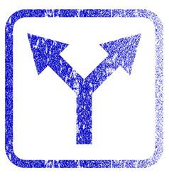 Bifurcation arrow up framed textured icon vector