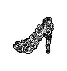 Black thick contour of high heel shoe formed by vector