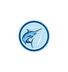 Blue marlin fish jumping circle cartoon vector