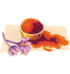 Bowl with saffron and two flowers vector